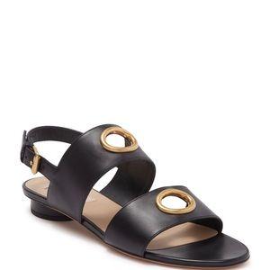 Valentino black strap grommet leather flats sandal
